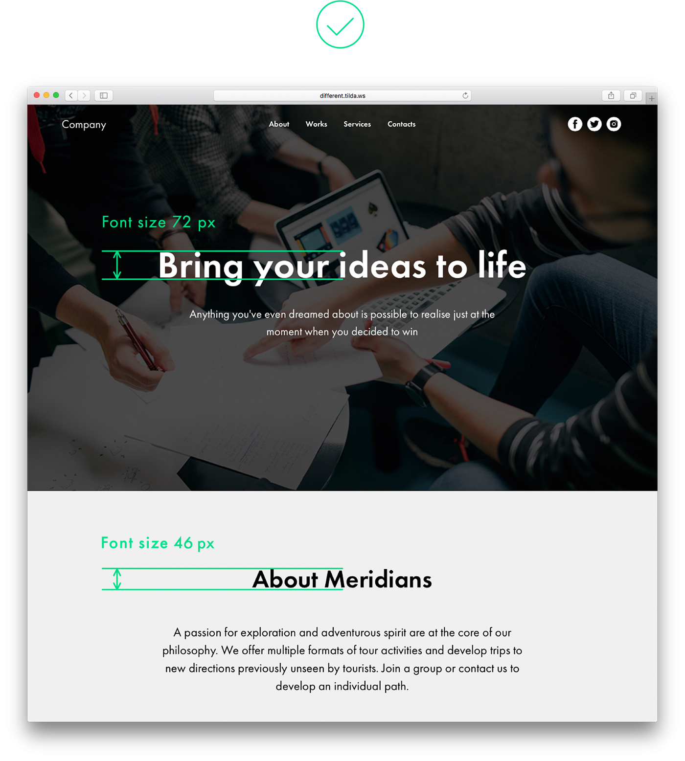 visual web page